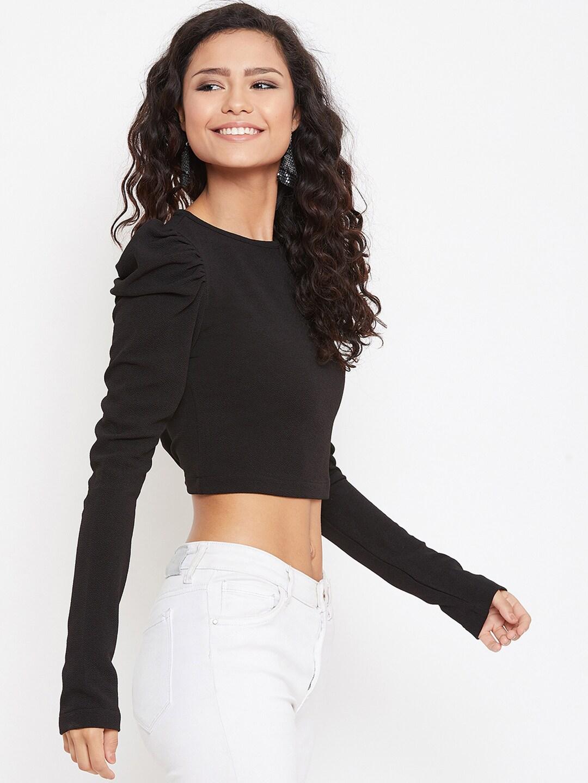 Zastraa Women Black Solid Crop Top