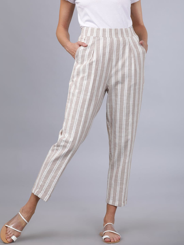 Tokyo Talkies Women Beige & Off-White Regular Fit Striped Regular Trousers