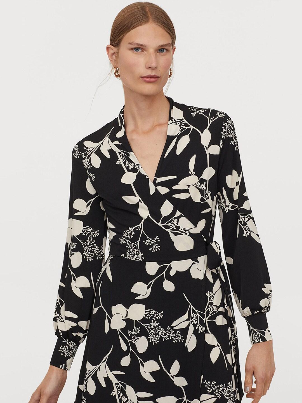 H&M Women Black & White Floral Printed Calf-length Wrap Dress