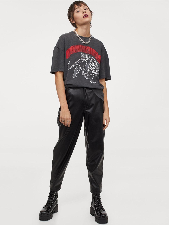 H&M Women Grey Printed T-shirt
