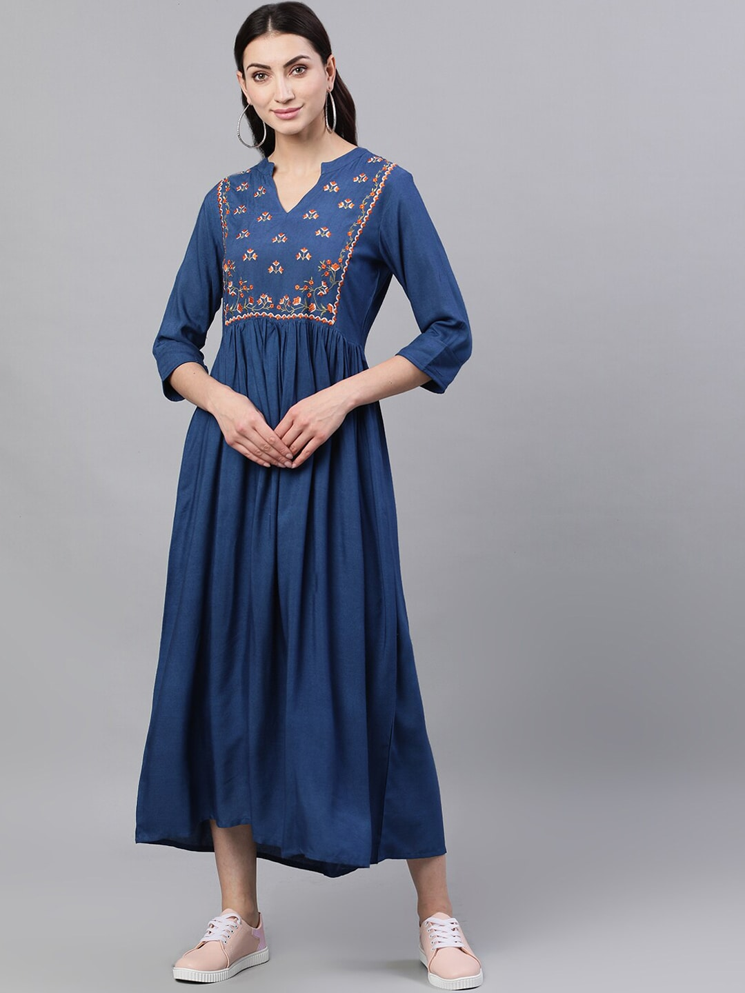 Nayo Women Blue Embroidered A-Line Dress