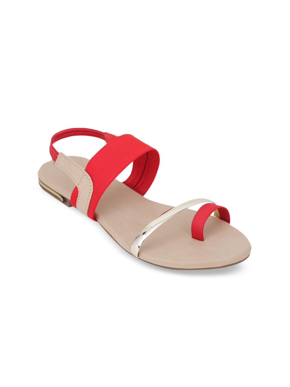 LONDON STEPS Women Red Solid Open Toe Flats