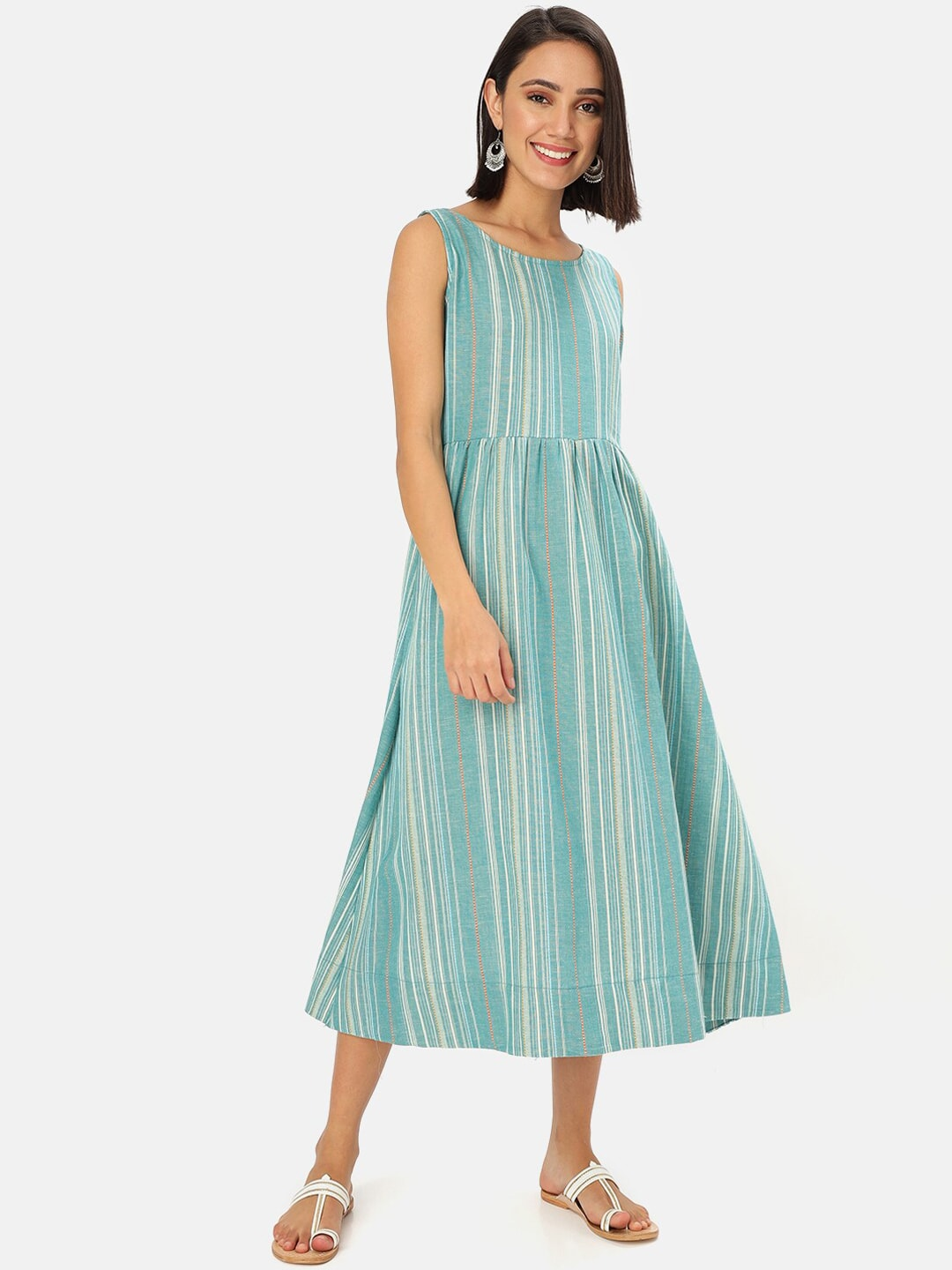 Saaki Women Teal Blue Striped A-Line Ethnic Dress