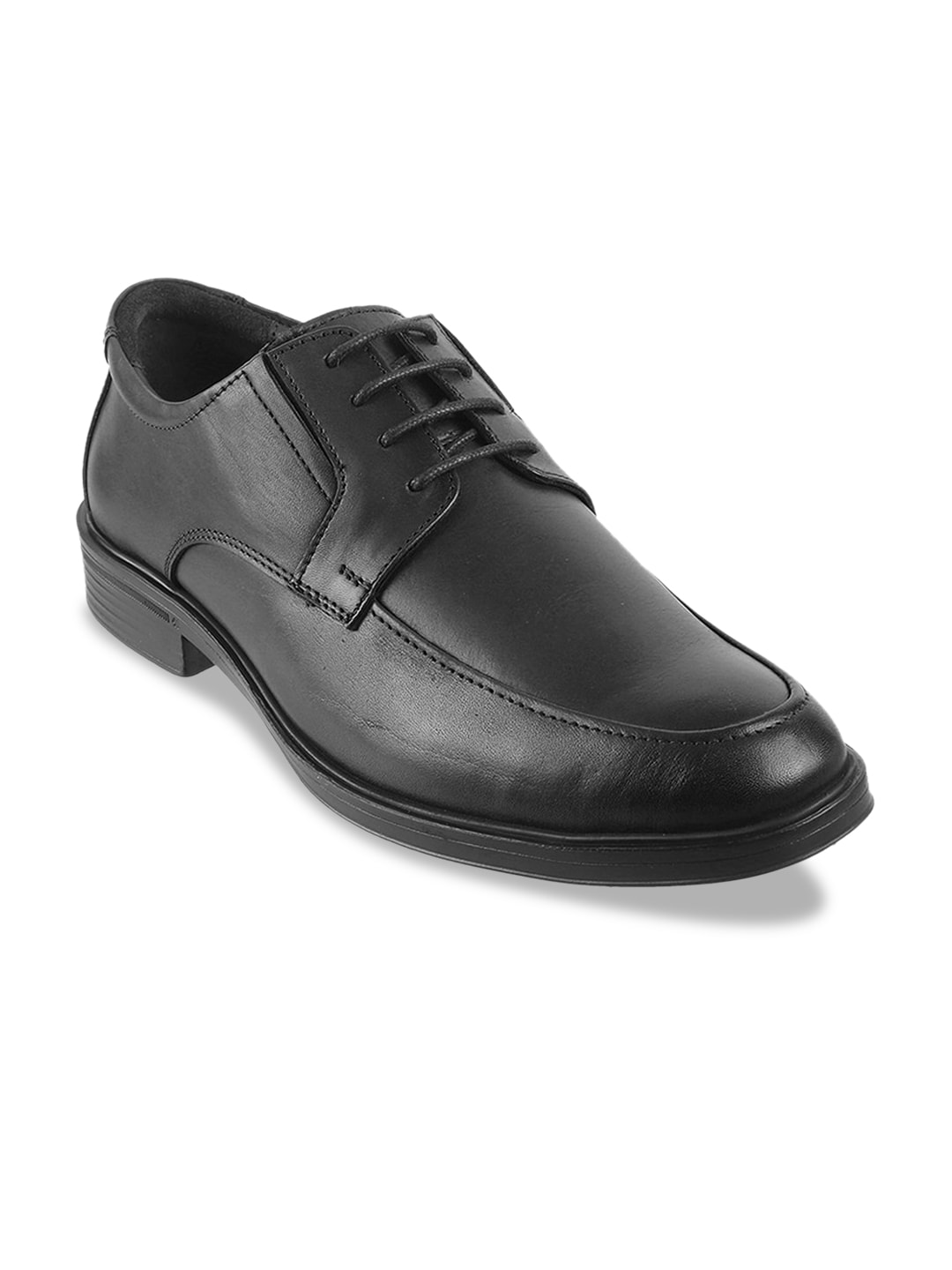 Metro Men Black Soild Leather Formal Derbys