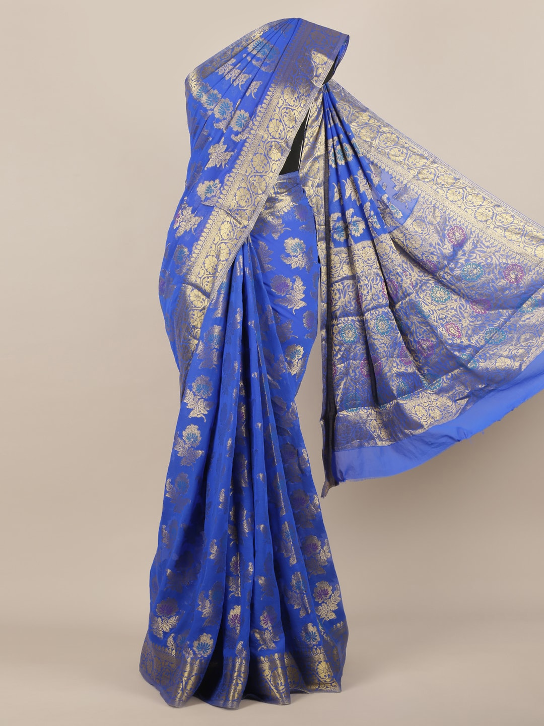 Pothys Blue & Gold-Toned Poly Georgette Woven Design Saree