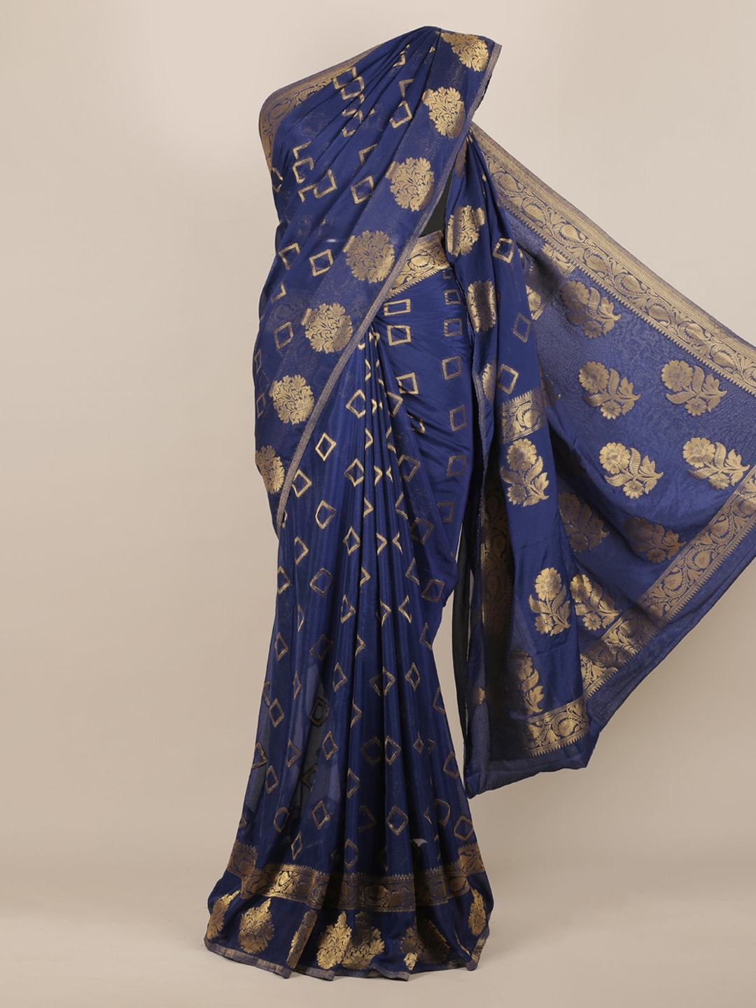 Pothys Blue Woven Design Poly Georgette Saree