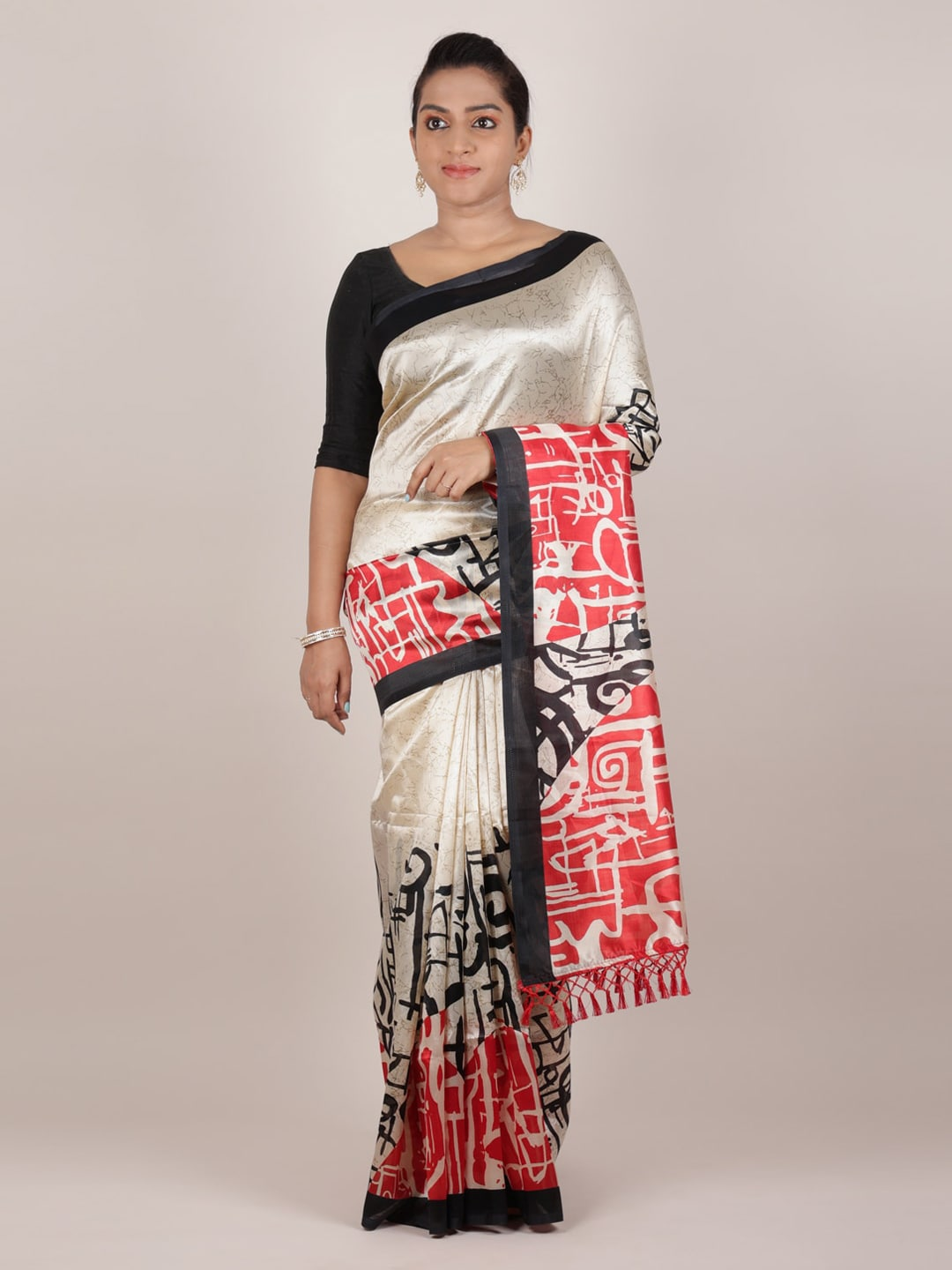 Pothys Cream-Coloured & Red Jute Silk Printed Saree