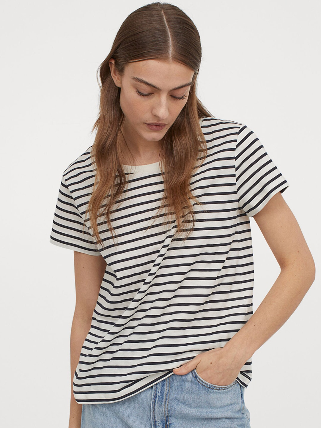 H&M Women White & Blue Striped Cotton T-shirt