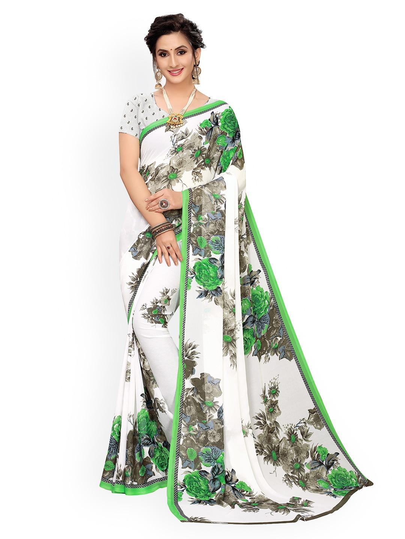 GoSriKi White & Green Pure Georgette Printed Saree
