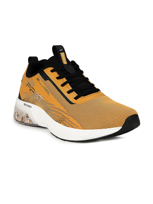 Campus Men Yellow Mesh Road Running Shoes