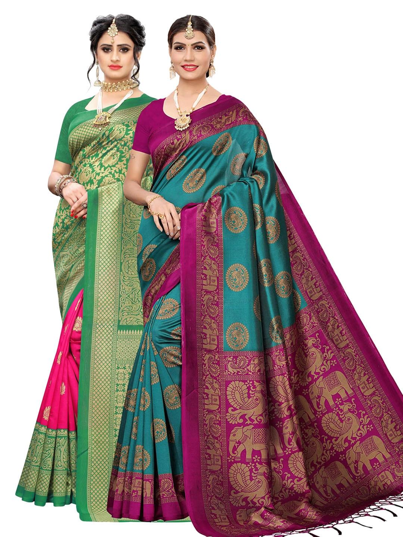 KALINI Green & Blue Pack of 2 Art Silk Printed Sarees