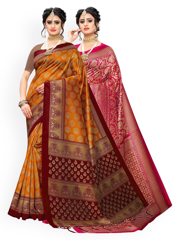 KALINI Yellow & Pink Pack of 2 Ethnic Motifs Art Silk Sarees
