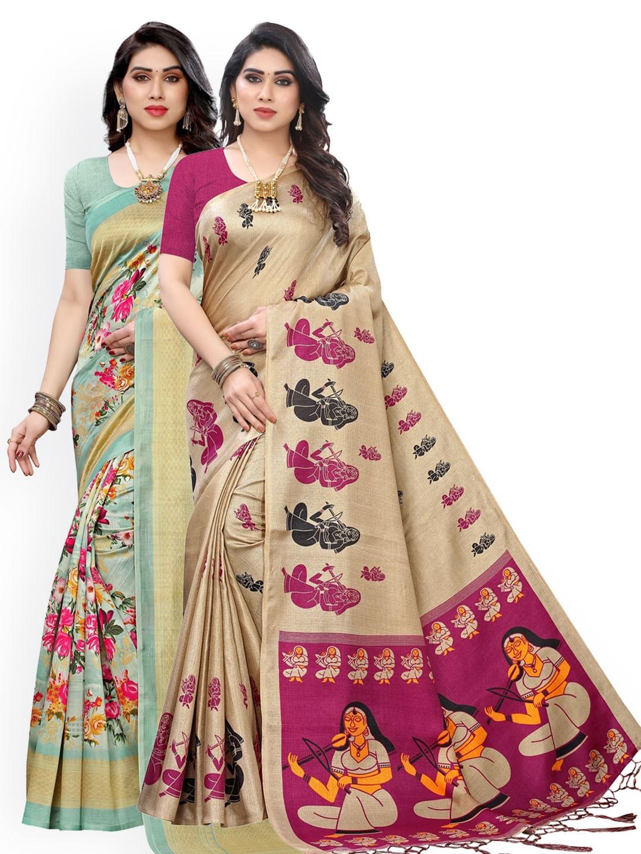 KALINI Green & Beige Set of 2 Ethnic Motifs Art Silk Saree