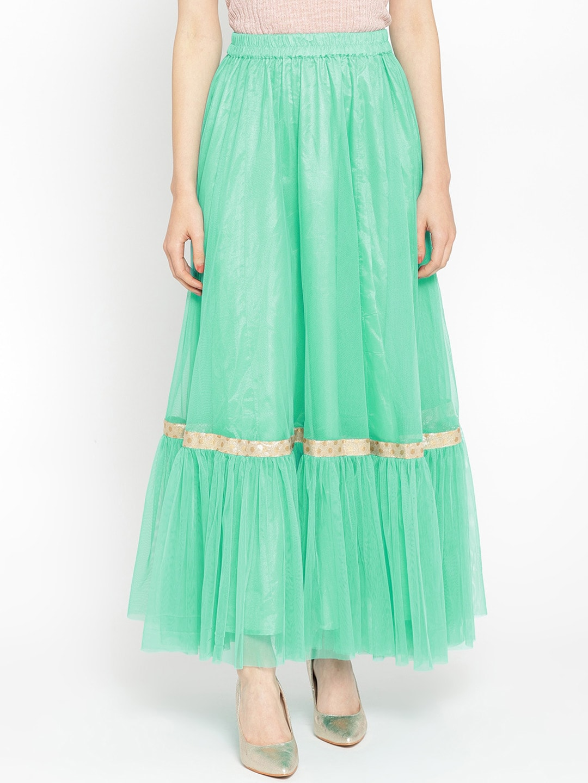 Shakumbhari Women Turquoise-Blue Solid Maxi-Length Flared Skirt