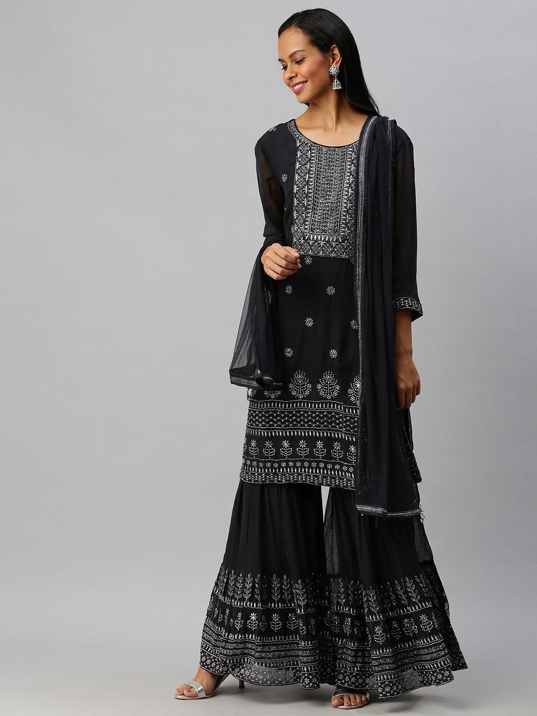 Soch Women Grey Ethnic Motifs Embellished Kurta with Sharara & Dupatta