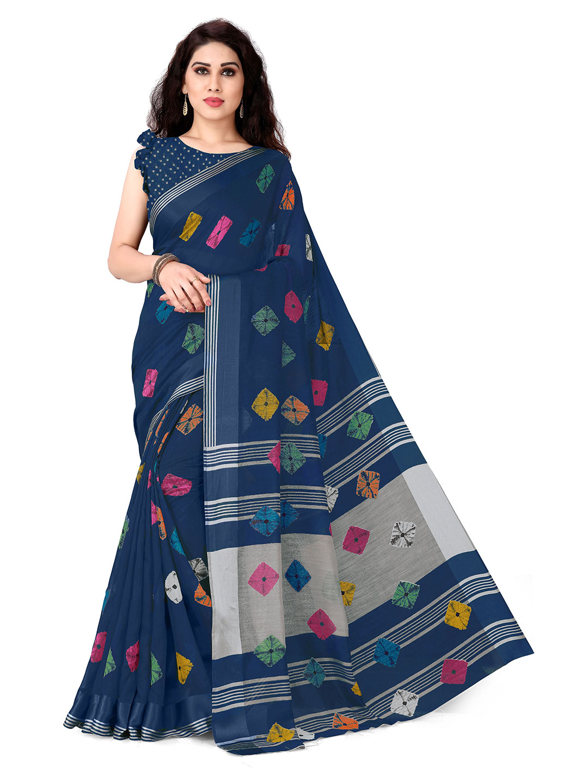 KALINI Navy Blue & Pink Bandhani Saree