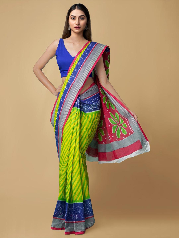 Unnati Silks Lime Green & Blue Striped Pure Cotton Saree