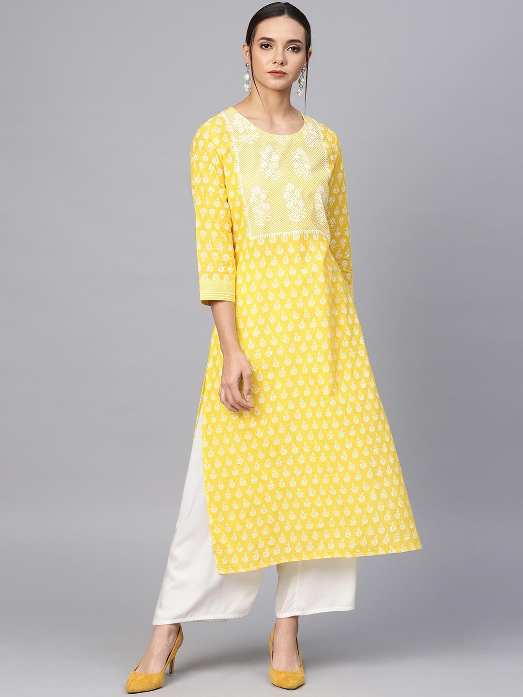 Varanga Women Yellow Ethnic Motifs Printed Cotton Kurta