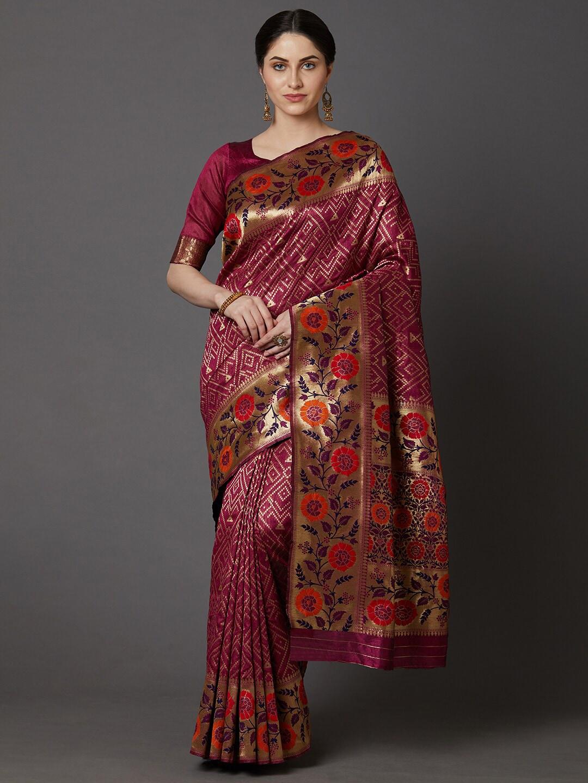 Mitera Magenta & Orange Floral Zari Silk Blend Banarasi Saree