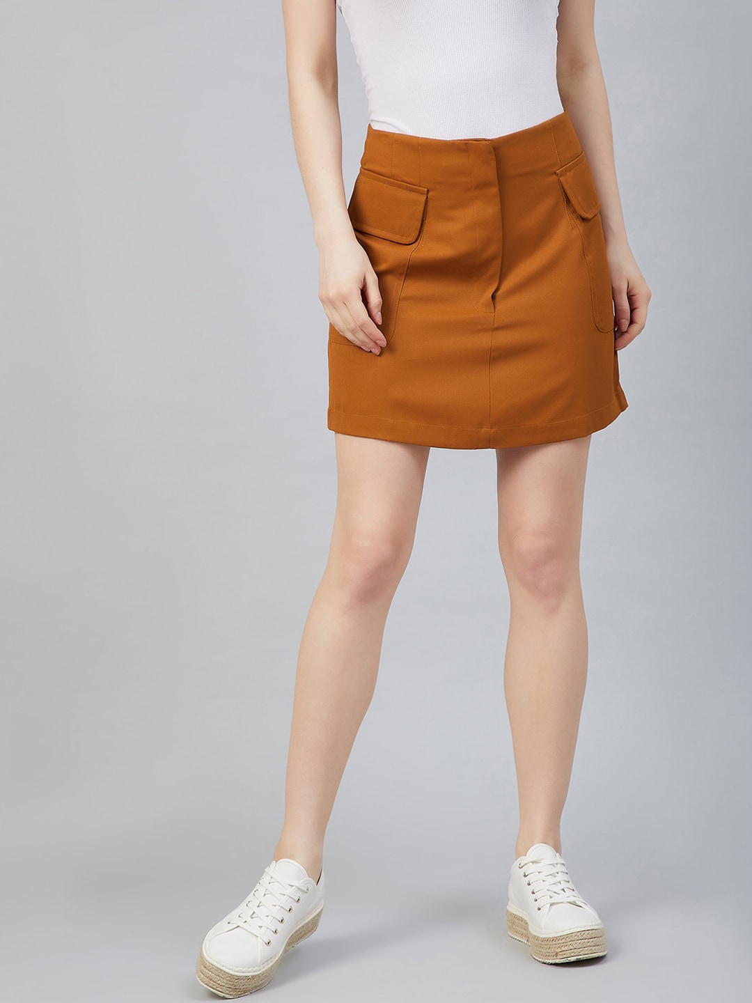 Marie Claire Women Tan Brown Solid Straight Mini Skirt
