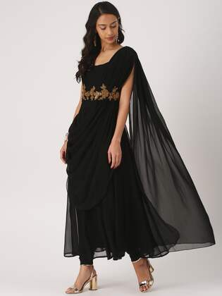 95fff9eb5ce21 IMARA Women Black & Embellished Kurta with Churidar & Dupatta