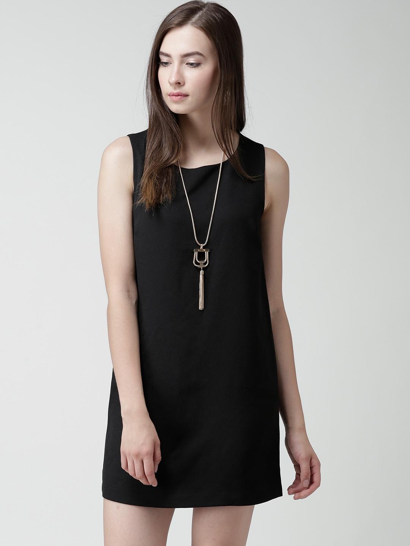 Black polyester shift dress