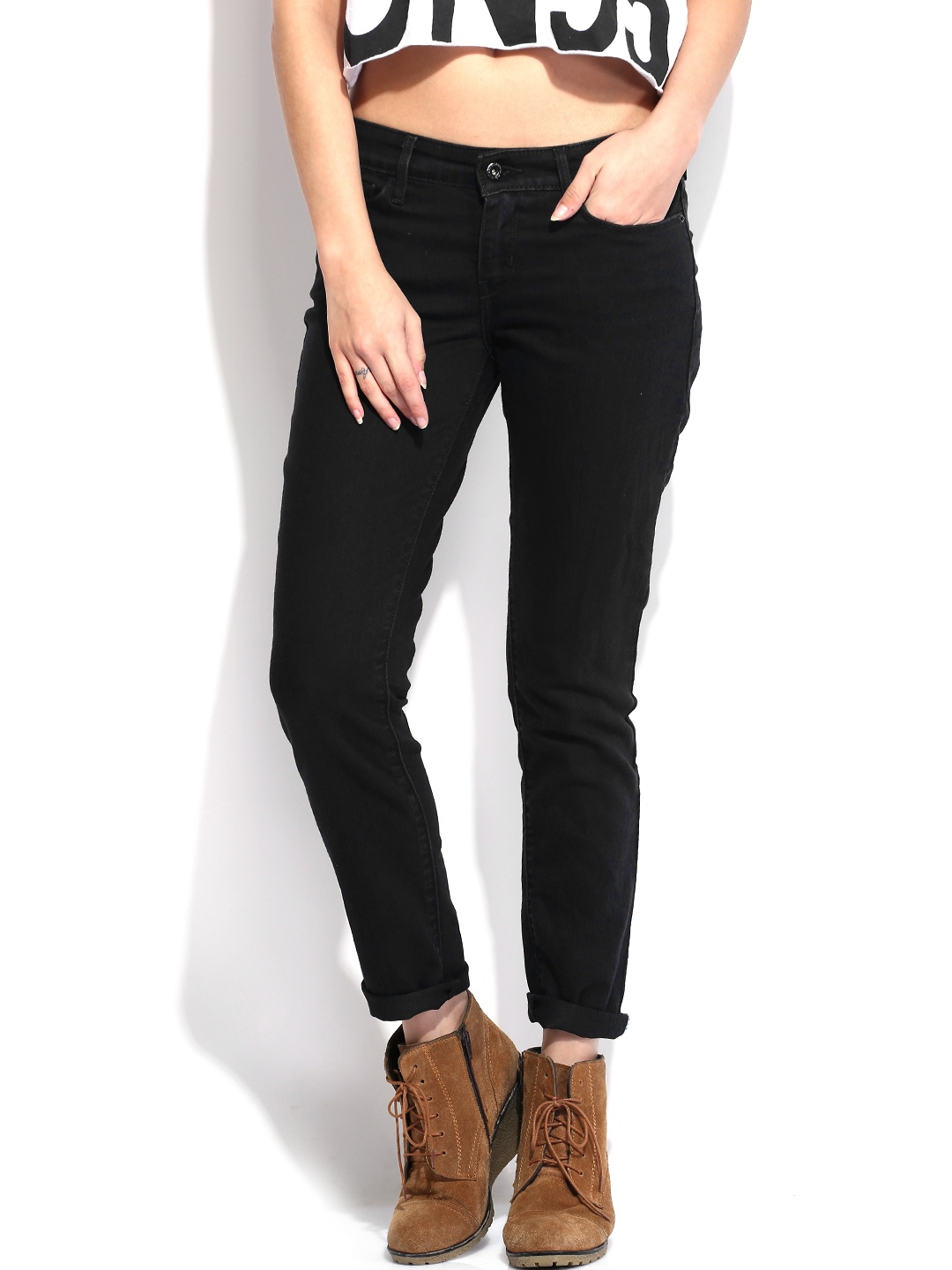 black single women in jean A denim mini skirt is in the staple pieces hall-of-fame and leather or suede minis are  choose a seemingly covered-up black or white turtleneck to contrast a mini .