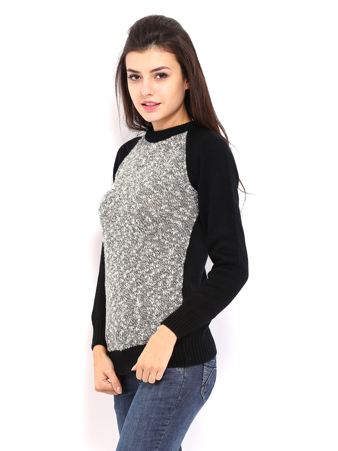 4dbbc833575 Buy Allen Solly Woman Grey   Black Sweater (multicolor) 7512435 for women  online in india on Myntra at Yebhi.com