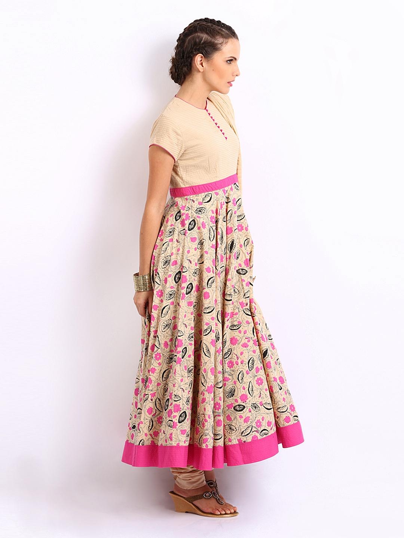 804194b0536 Buy BIBA by Rohit Bal Beige Pink Women Anarkali Printed Churidar ...