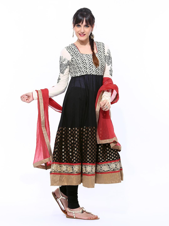 855ee358fa Buy BIBA Women Off-White & Black Printed Anarkali Churidar Kurta ...