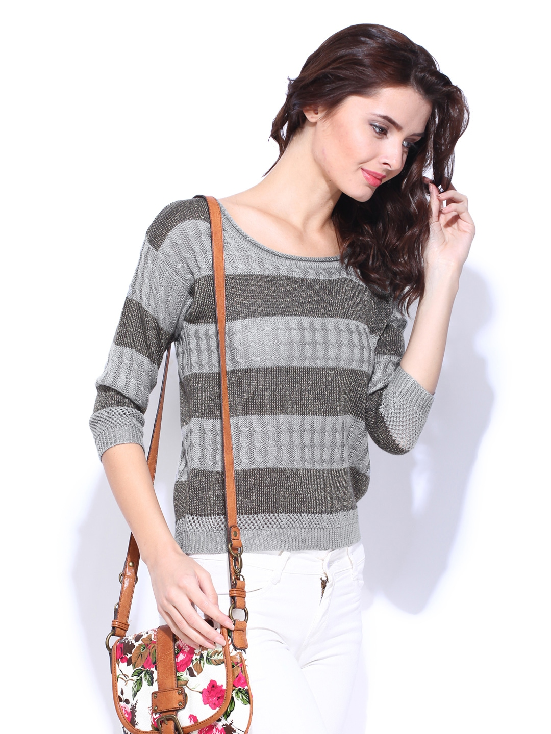 9bf8330e40f Buy DressBerry Women Grey Striped Sweater 8472268 for women online in india  on Myntra at Yebhi.com
