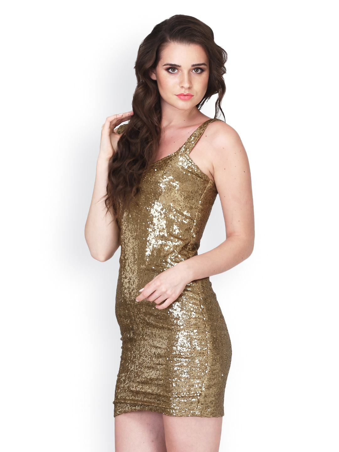 f60fb14ae680 Buy FabAlley Golden Bodycon Dress (yellow) 1434549 for women online in india  on Myntra at Yebhi.com