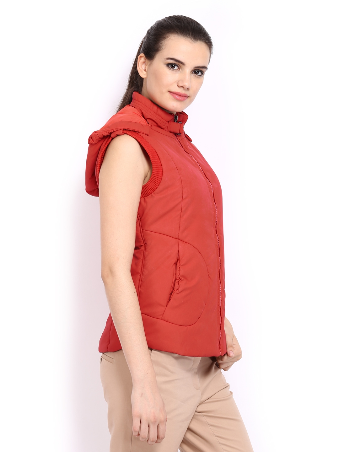 bf9db055c4a Buy Fort Collins Women Red Padded Sleeveless Jacket 1392505 for women  online in india on Myntra at Yebhi.com