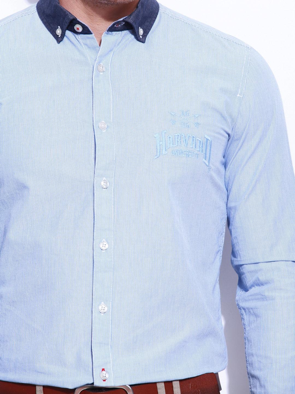 ad7f05bbd HARVARD Men Sky Blue & White Slim Fit Scholar Signature Casual Shirt  (multicolor)