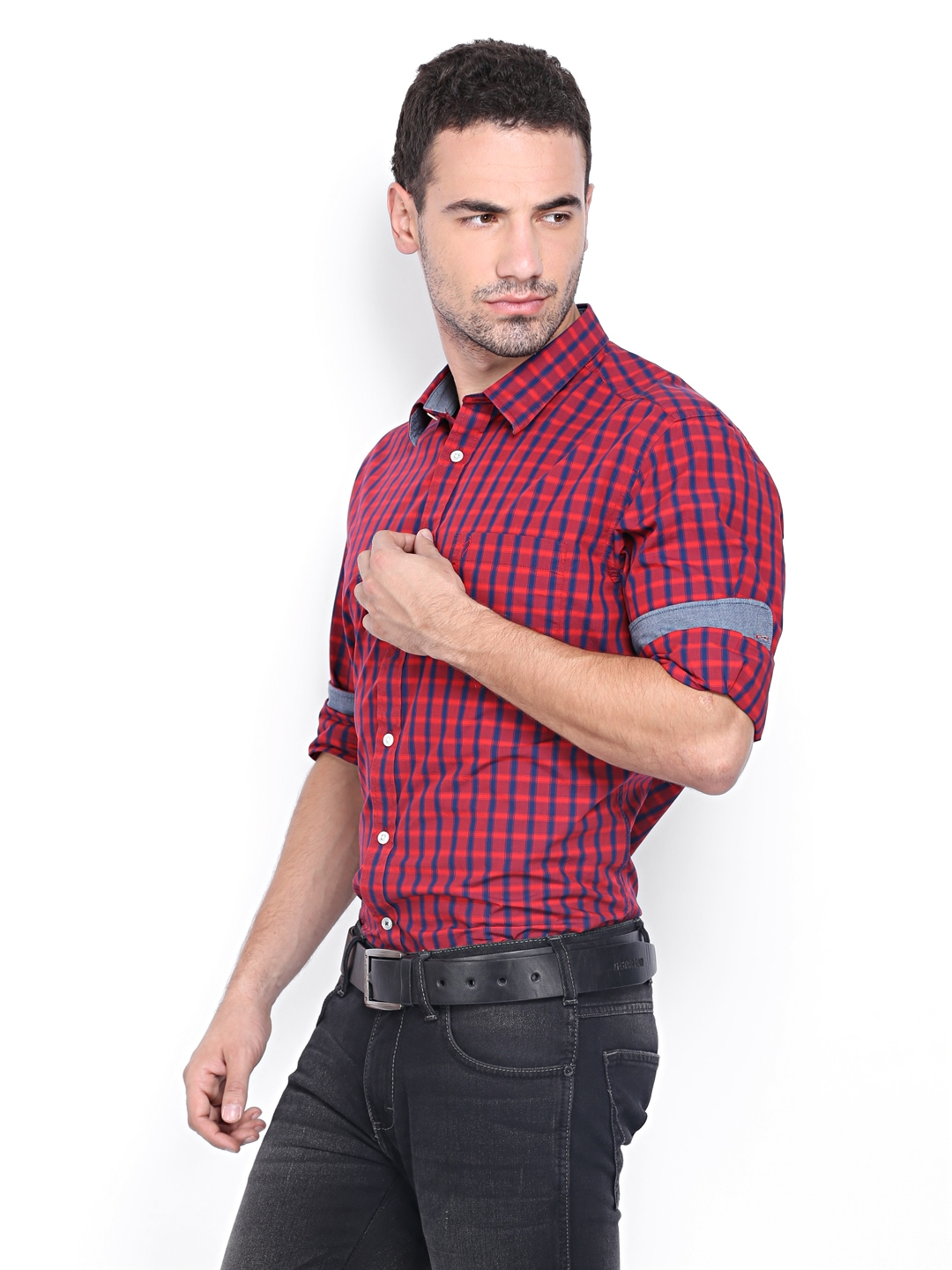e28f4511383 Buy Indian Terrain Men Red Blue Checked Slim Fit Casual Shirt 1387828 for  men online in india on Myntra at Yebhi.com