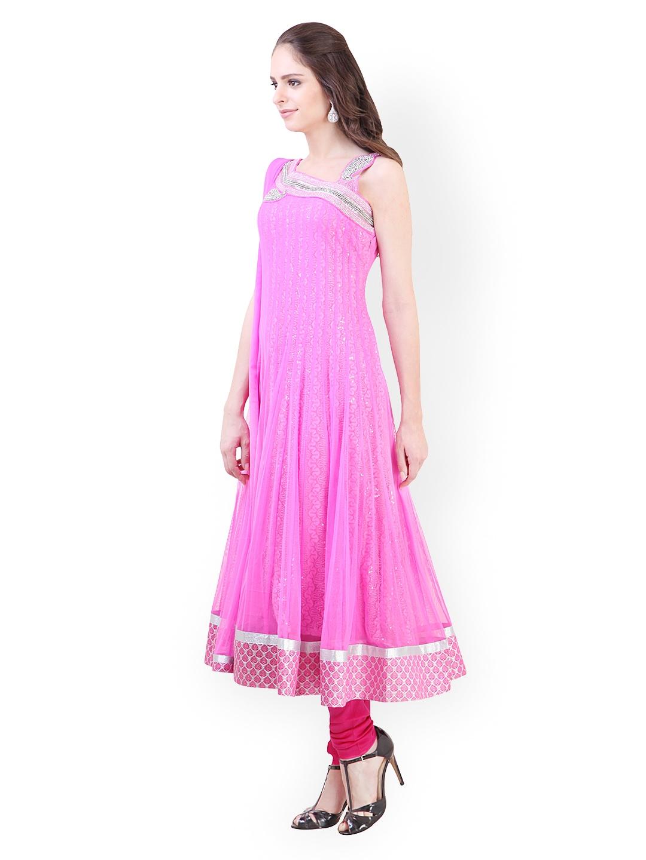 6b466c9dbee Libas Women Pink Anarkali Churidar Kurta with Dupatta (multicolor)