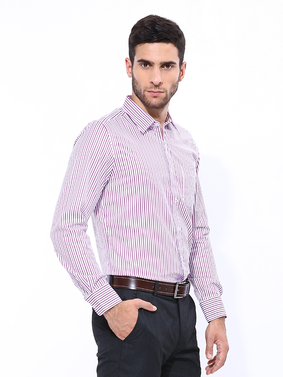 Buy London Bridge Men White & Purple Striped Slim Fit Formal