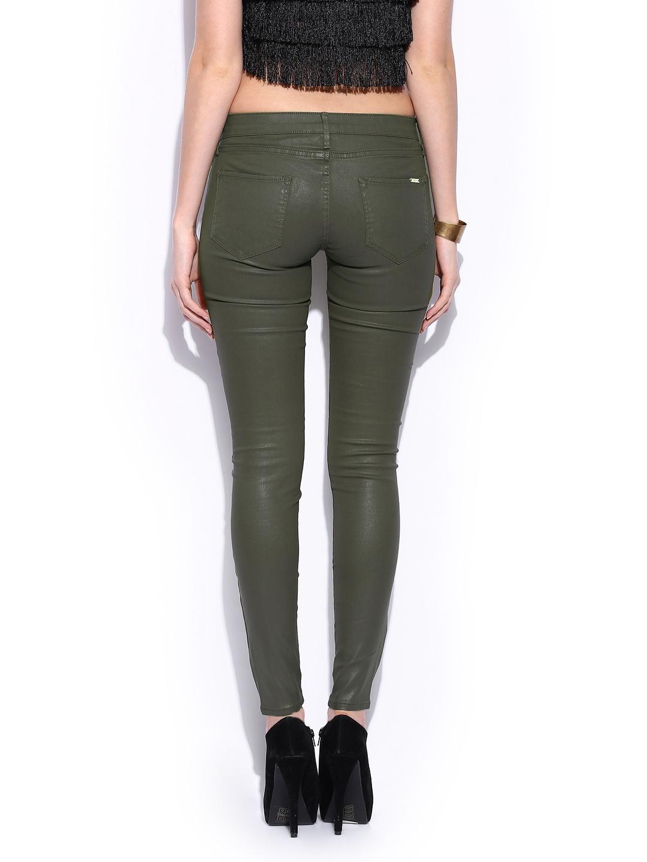 Buy MANGO Women Olive Green Belle Skinny Fit Jeans (beige\/sand ...