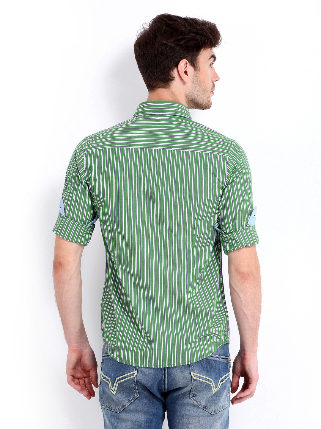 214620808c3 Pepe Jeans Men Green   Blue Striped Slim Fit Casual Shirt (multicolor)