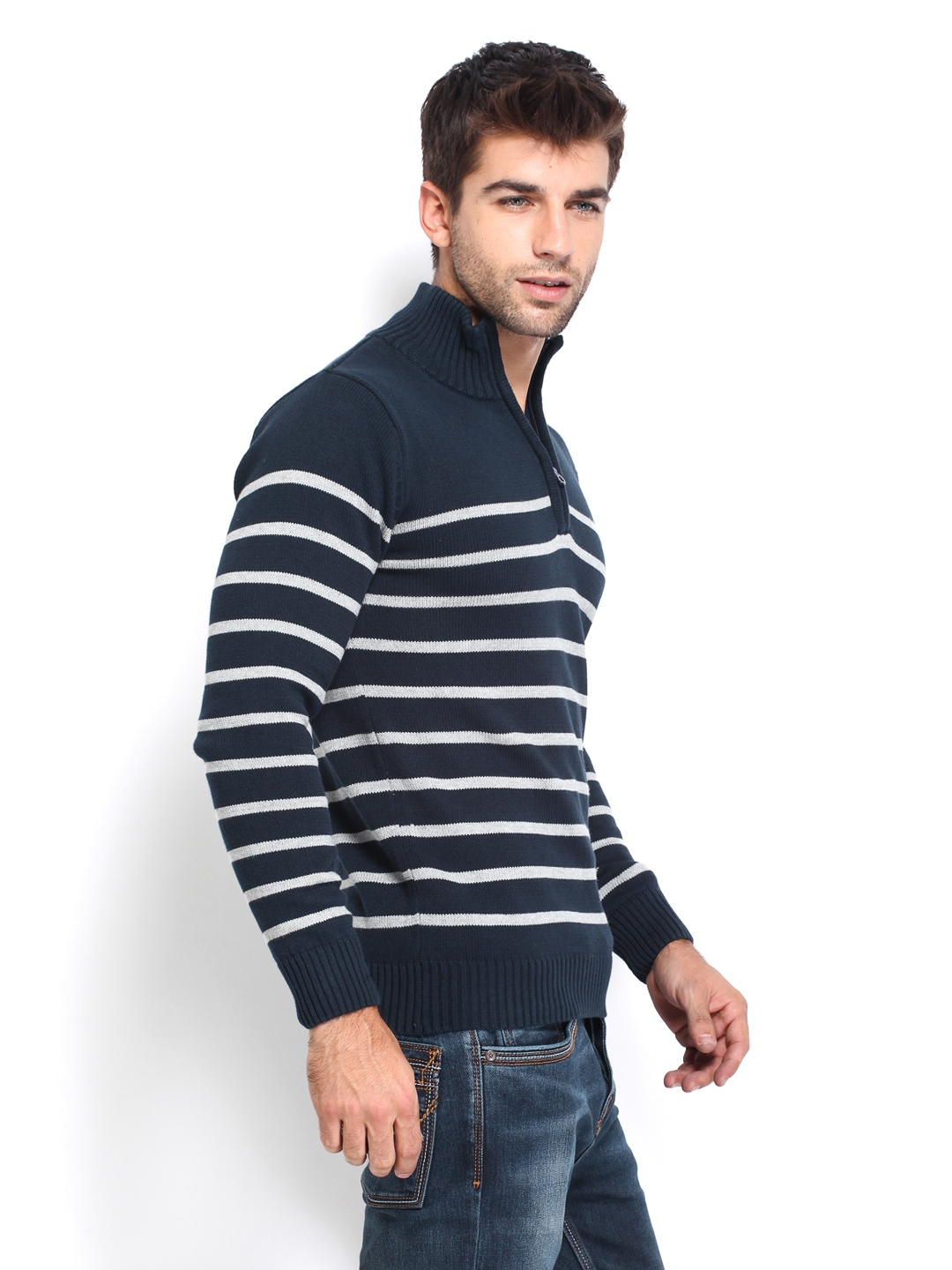 9a5bd94415 Buy Pepe Jeans Men Navy   Off-White Striped Sweater (multicolor ...