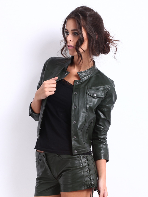 Buy The Vanca Women Dark Green Leather Jacket 1445381 For Women