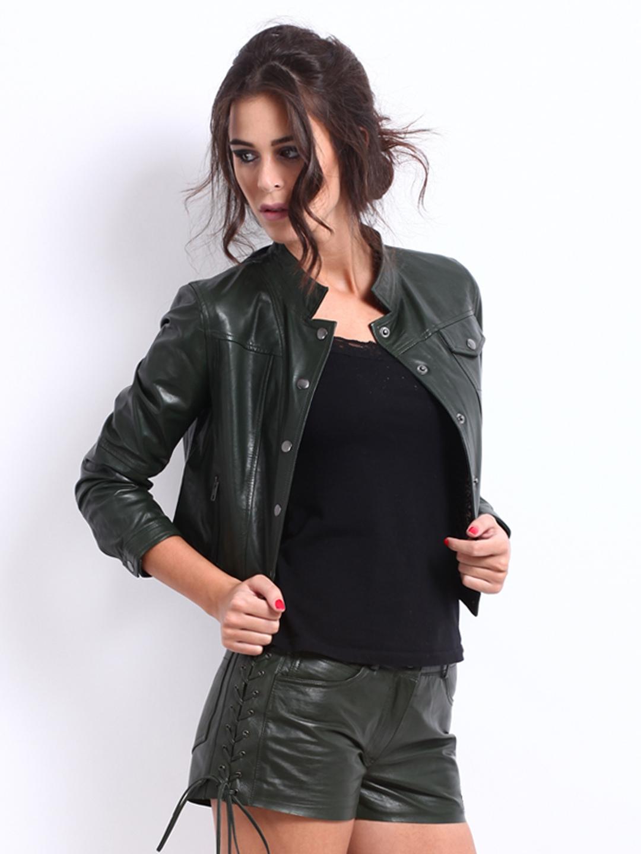 aeb881b65df16 Buy The Vanca Women Dark Green Leather Jacket 1445381 for women online in  india on Myntra at Yebhi.com