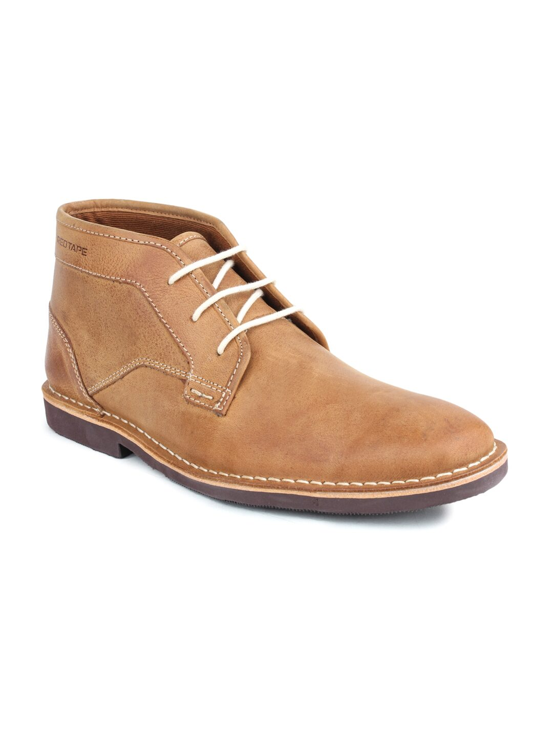 red tape men tan brown leather chukka boots