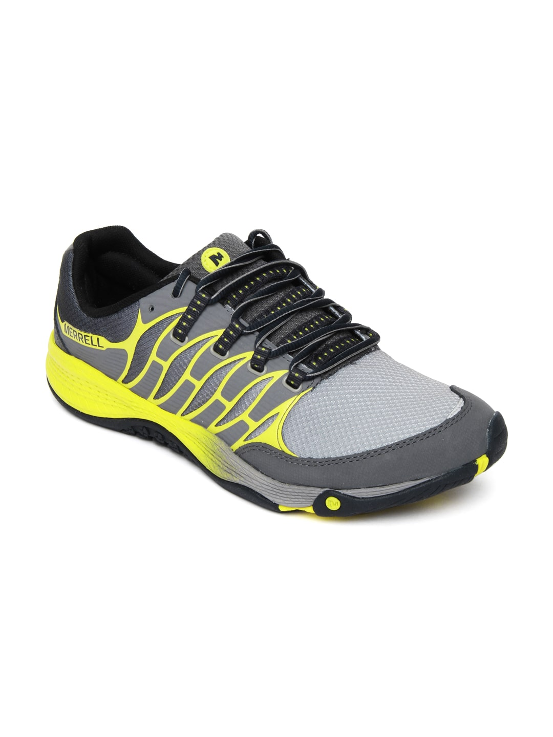 merrell grey and yellow allout fuse sports shoes