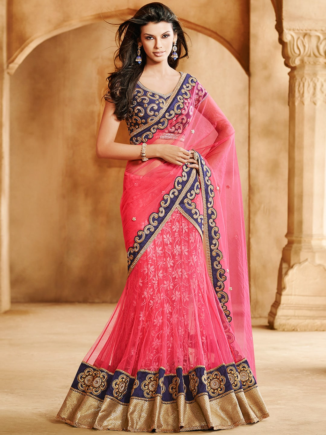 Best buy coupons code - Prelika Tsr2505 Pink Embroidered Net Partywear Lehenga Saree Price In