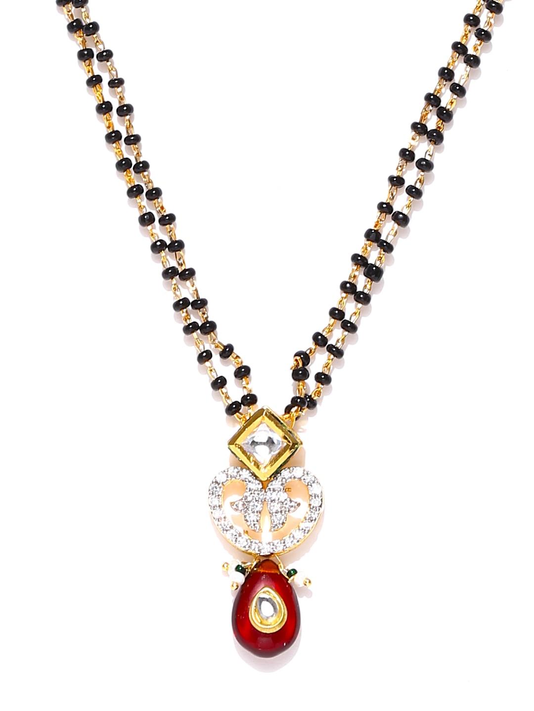 Sukkhi Black Amp Gold Plated Stone Studded Mangalsutra Price
