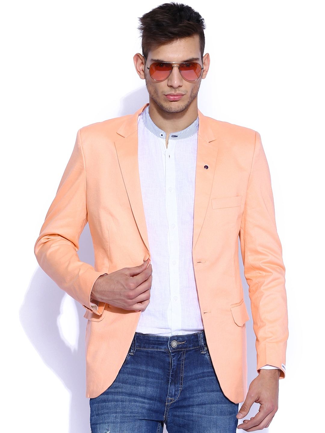 Buy Blazer Quarter Peach Coloured Slim Fit Blazer - Blazers for ...