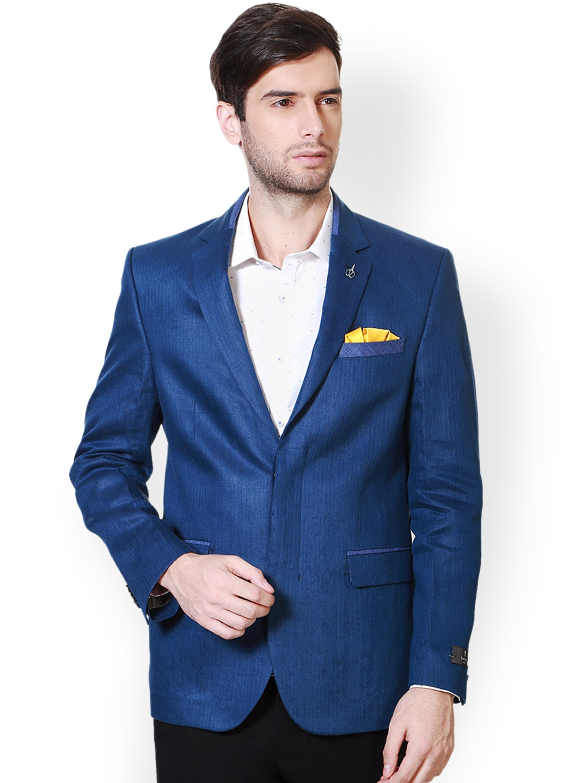 Van Heusen Blue Single-Breasted Slim Fit Linen Formal ...