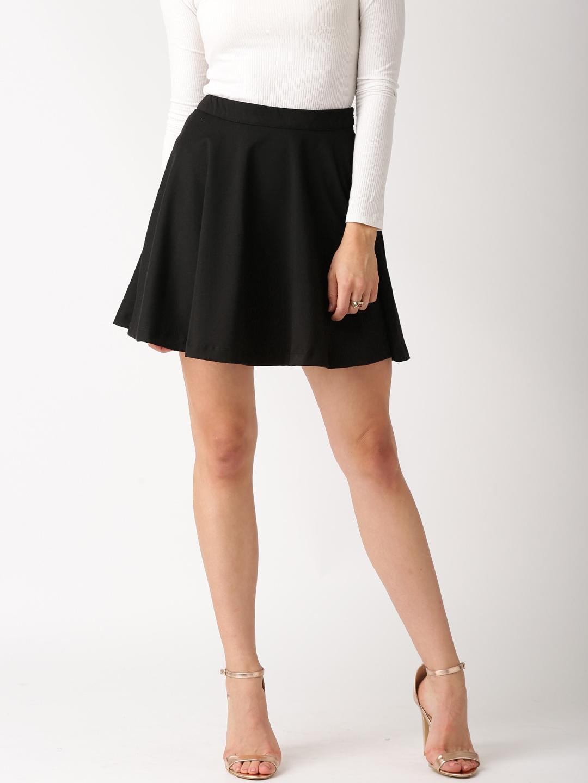 Buy DressBerry Black Flared Mini Skirt - Skirts for Women | Myntra
