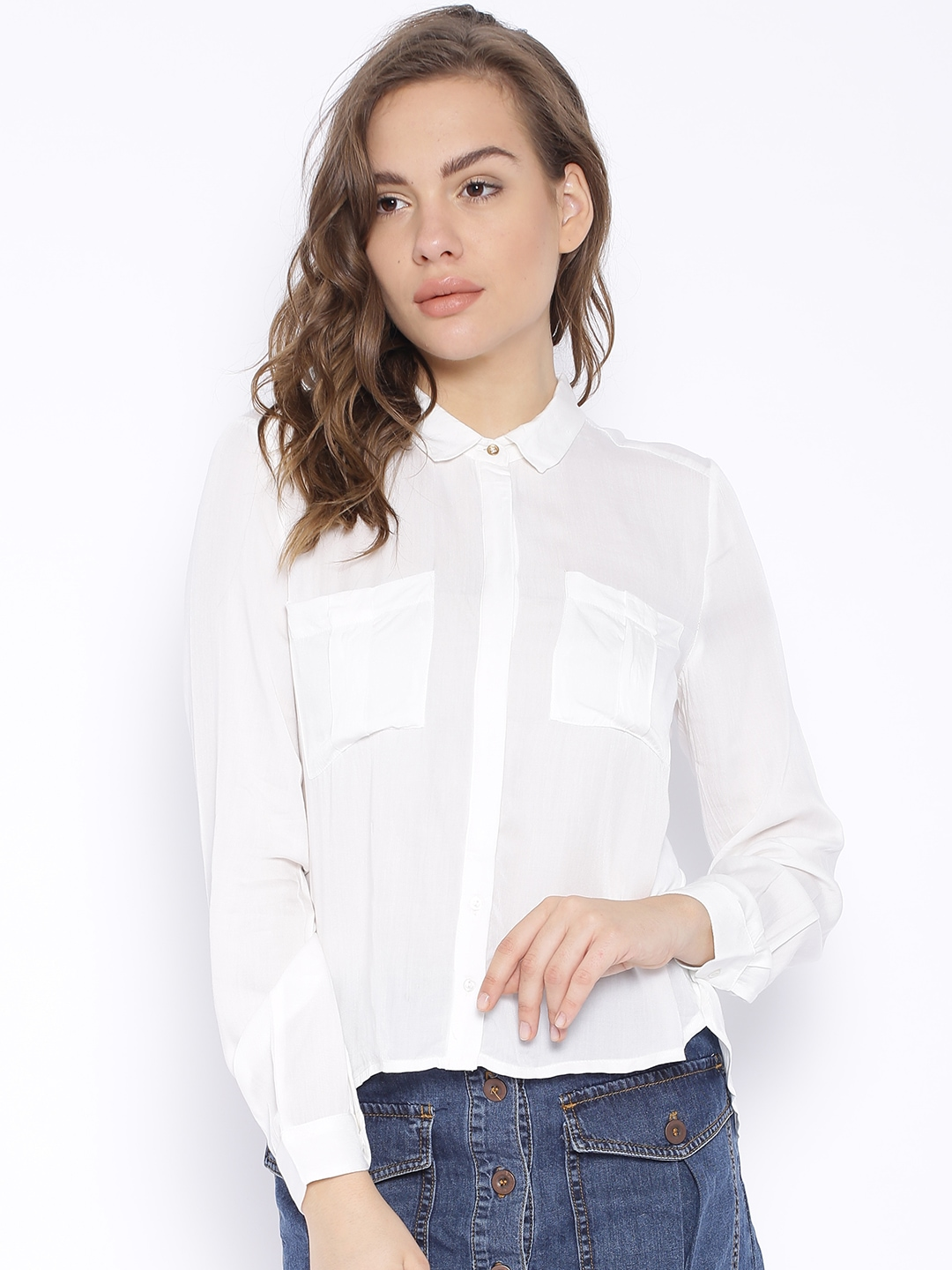 Buy ONLY Off White Casual Shirt - Apparel for Women